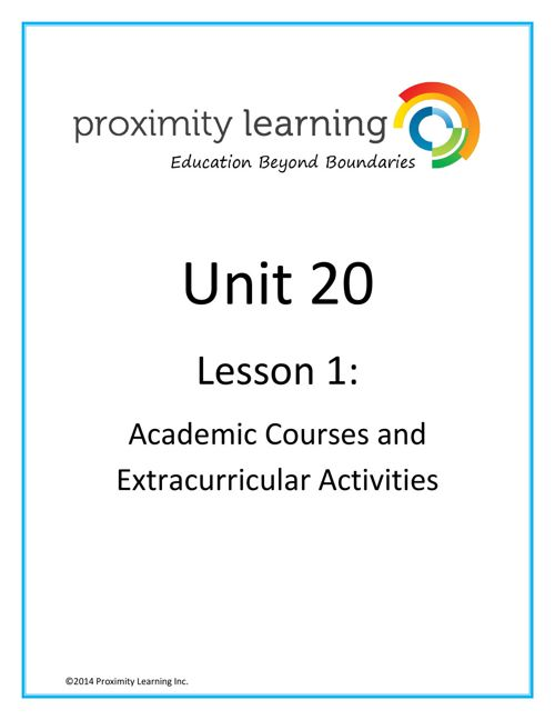 CHN 4 Unit 20 Lesson 1:  Academics and Extracurriculars