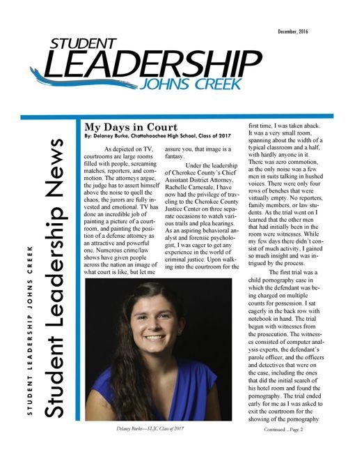 December 2016 newsletter SLJC