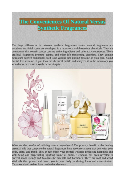 The Conveniences Of Natural Versus Synthetic Fragrances
