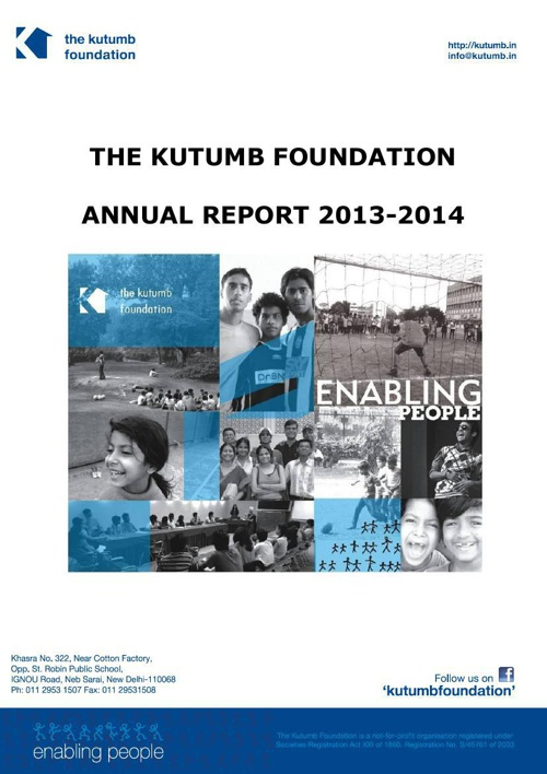 THE KUTUMB FOUNDATION'S 2013-2014 ANNUAL REPORT