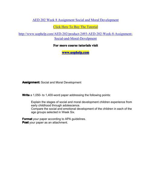 AED 202 Week 8 Assignment Social and Moral Development