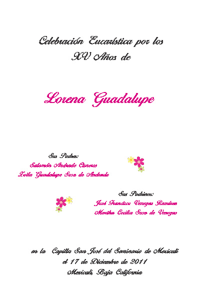 Esquema XV Años Lorena Guadalupe