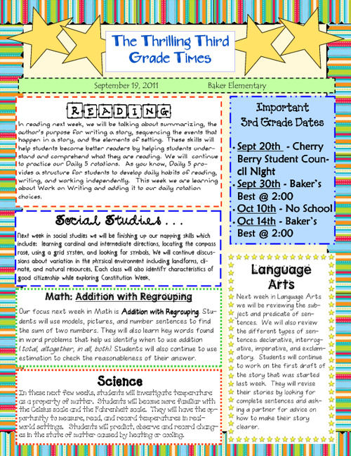 Third Grade Newsletters