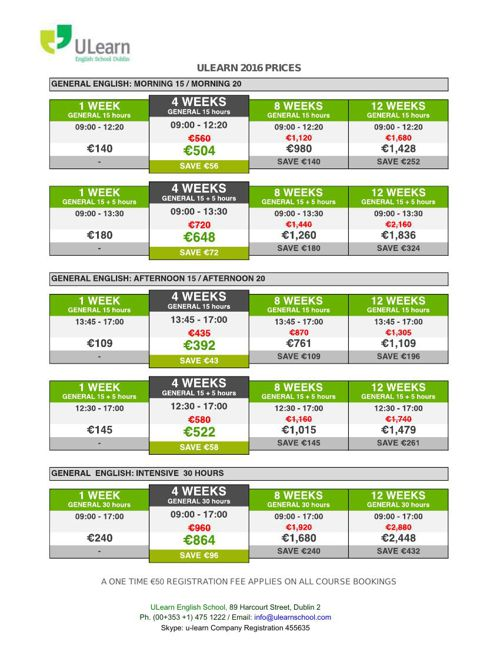 ULEARN PRICES 2016