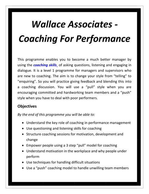 Wallace Associates - Coaching For Performance