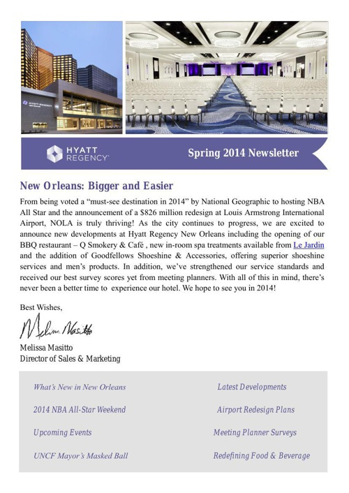 Hyatt Regency New Orleans: Spring 2014