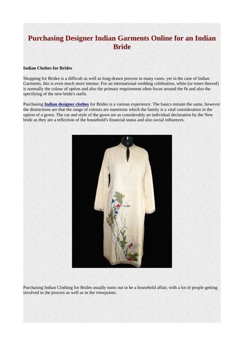 Purchasing Designer Indian Garments Online for an Indian Bride