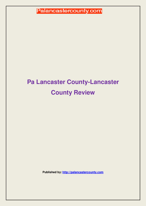 Pa Lancaster County-Lancaster County Review