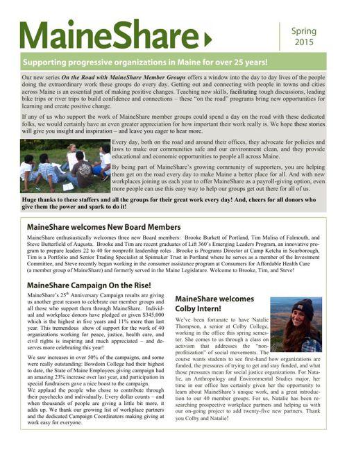 2015 Spring MaineShare Newsletter
