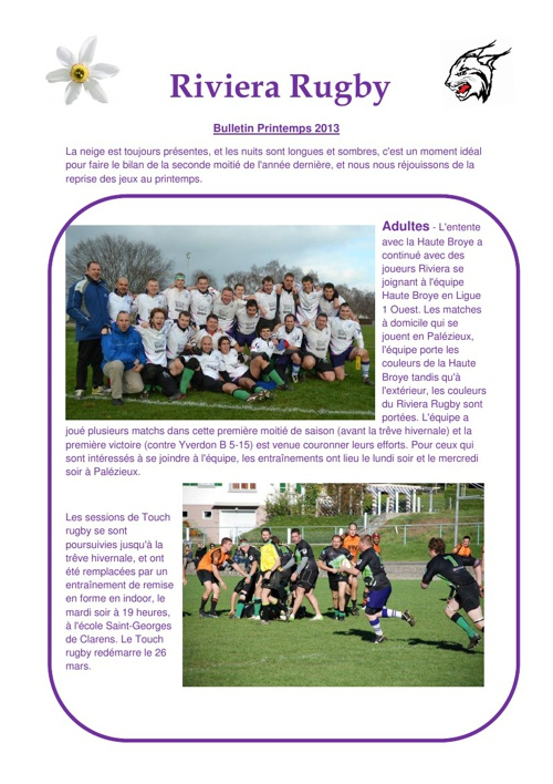 Riviera Rugby Club Newsletter 2013 (Spring)