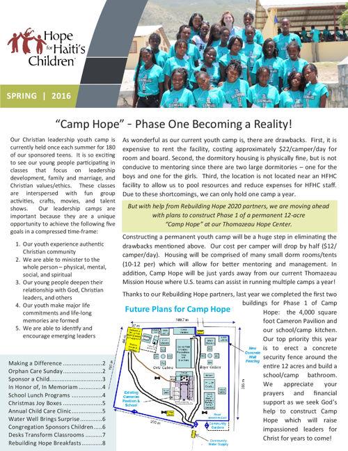 2016 HFHC Spring Newsletter