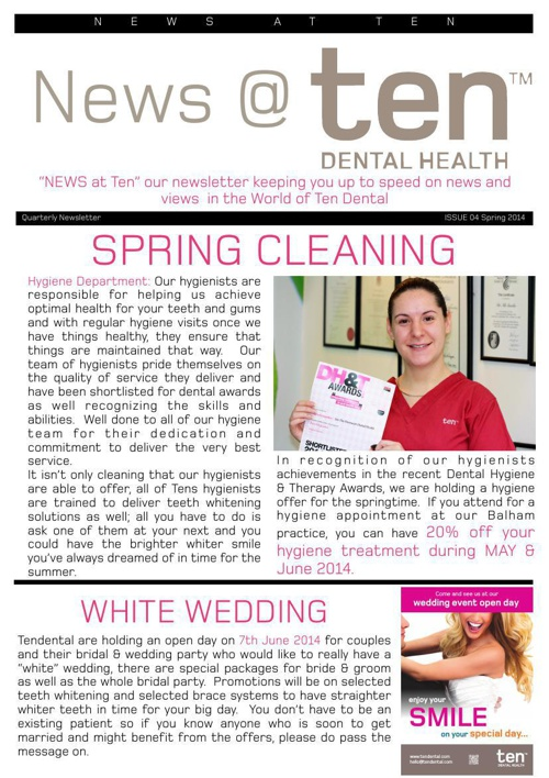 Ten Dental Newsletter: Spring 2014
