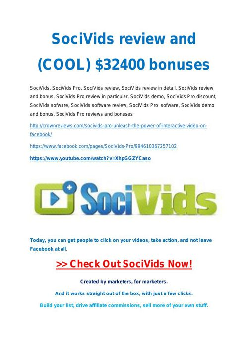 SociVids Pro  Review demo - $22,700 bonus