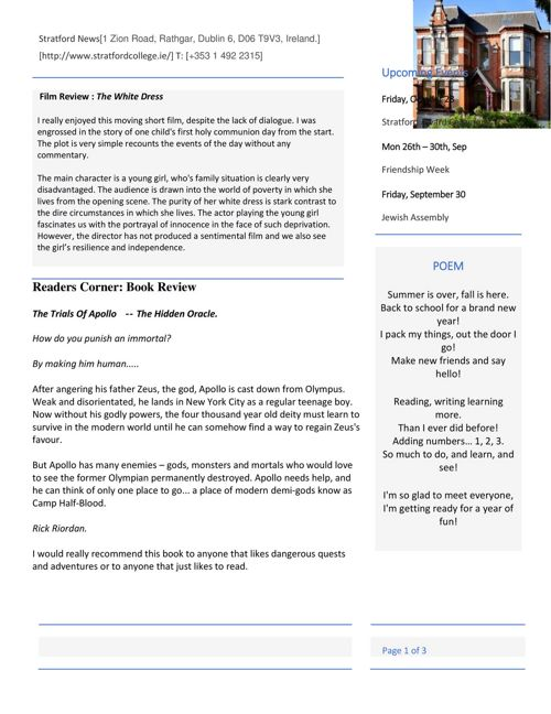 1st Year English Newsletters. Sept 2016