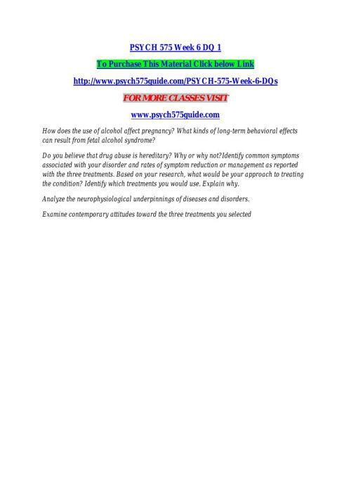PSYCH 575 Week 6 DQ 1