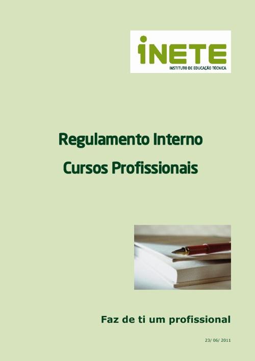 Regulamento Interno dos Cursos Profissionais