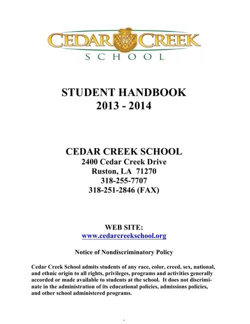 Student Handbook 2013-2014
