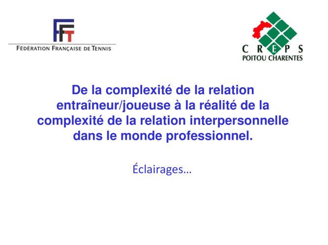 COMPLEXITE RELATION ENTRAINEUR ENTRAINE