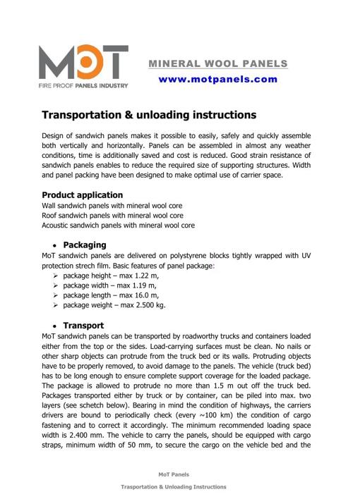 Trasportation  Unloading Instructions