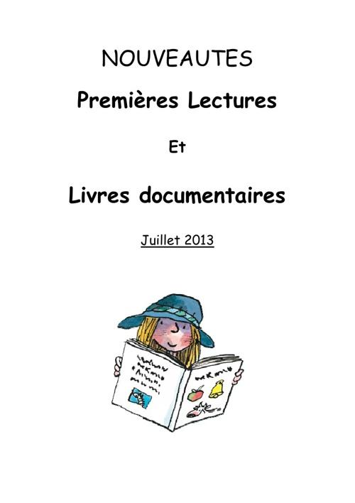 Premières Lectures été 2013