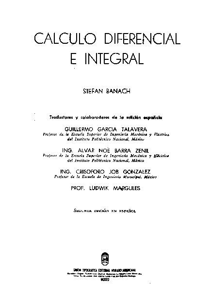 Cálculo Diferencial e Integral. Stefan Banach