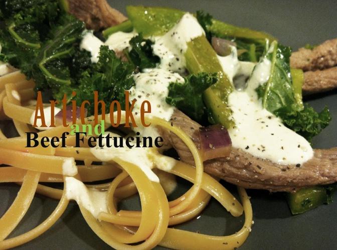 Artichoke and Beef Fettuccine