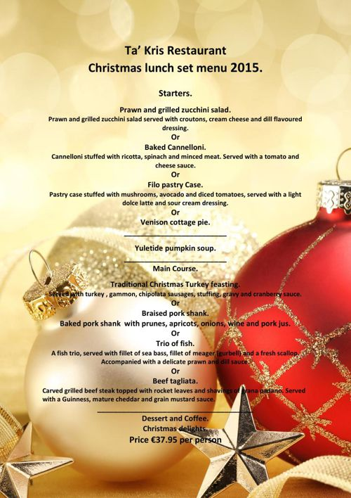 Ta Kris - Christmas Lunch Set Menu 2015