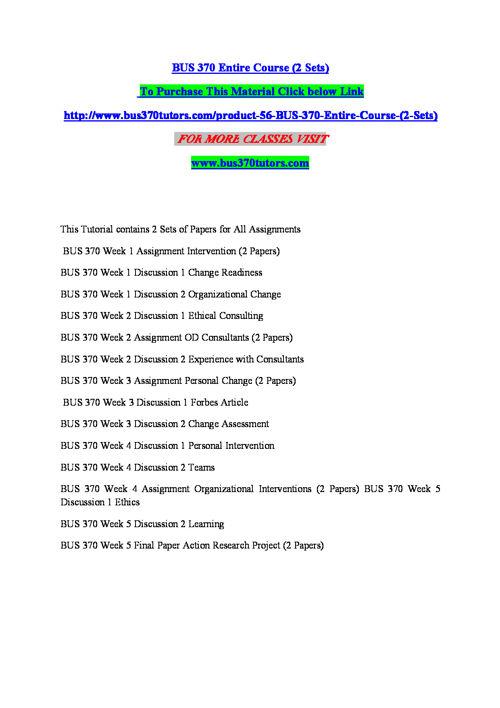 BUS 370 TUTORS Inspiring Minds/bus370tutors.com
