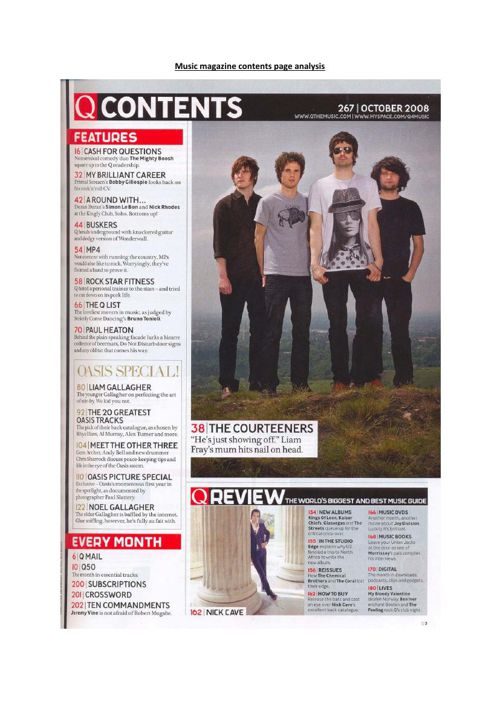 Music magazine contents page analysis