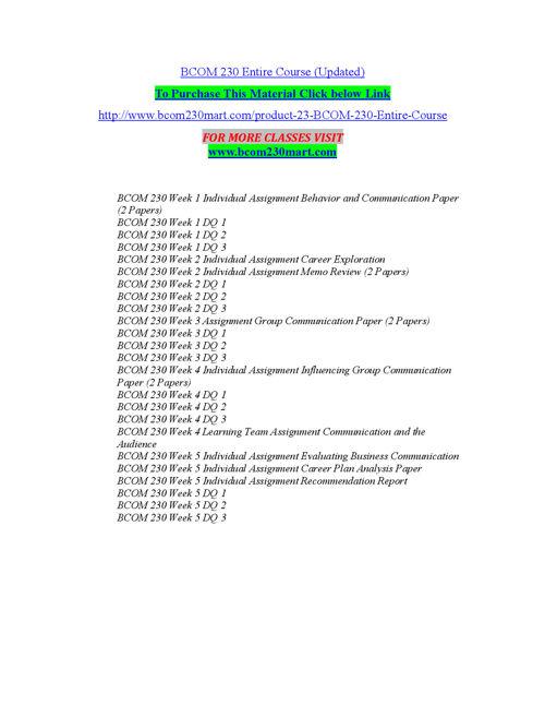 BCOM 230 MART Peer Educator/ bcom230mart.com