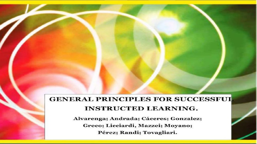 General principles for successful instructed learning.LENSE3