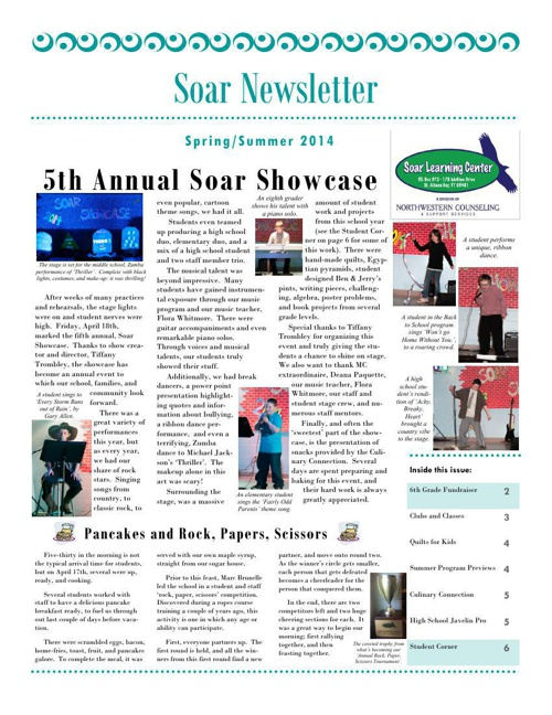 Soar Learning Center - Spring 2014 Newsletter