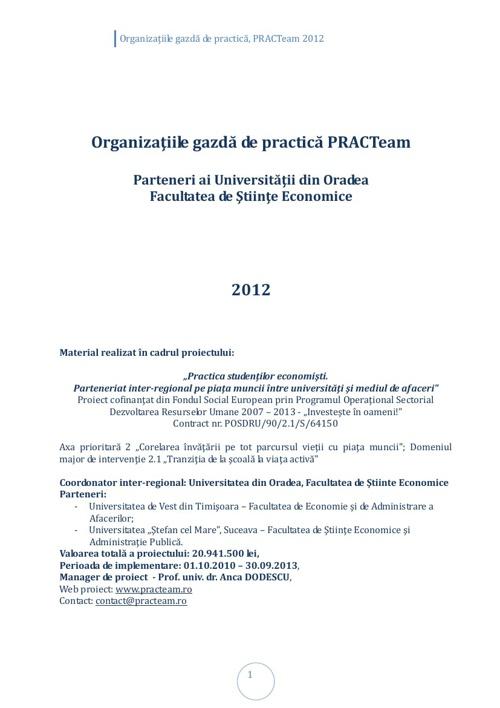 PRACTeam - Volum prezentare Organizaţii gazdă Oradea, 2012