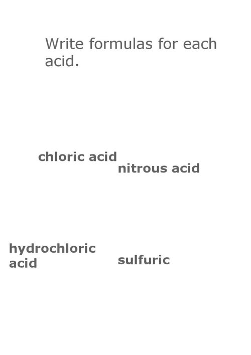 Acid formulas