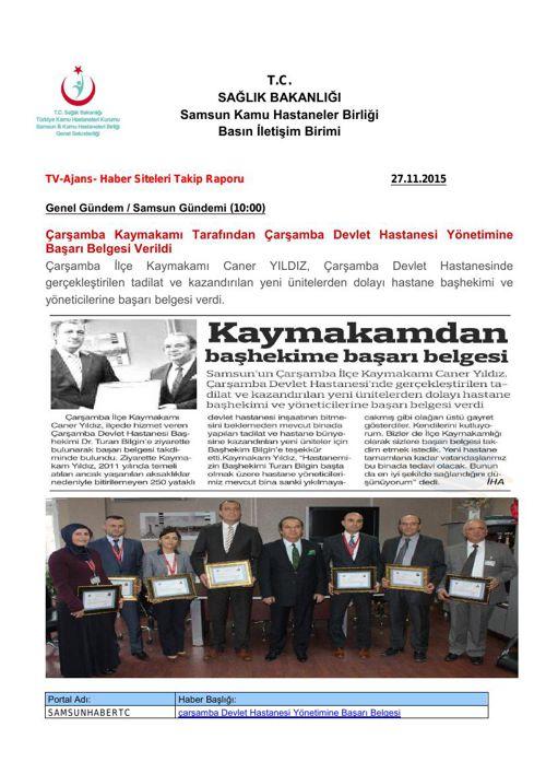 27 Kasım 2015 - Samsun KHB Basın Özetleri