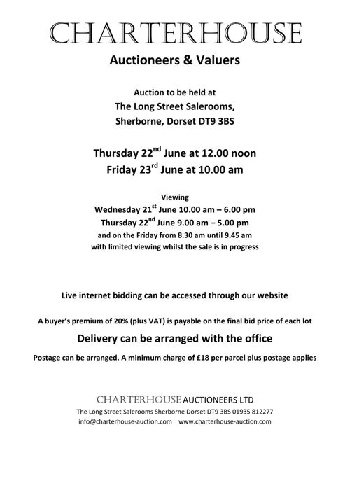 Charterhouse June 2017 Antique Auction Catalogue