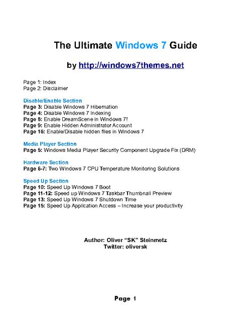 Win 7 guide