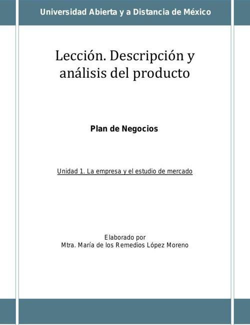 Lección. Descripción y análisis del producto