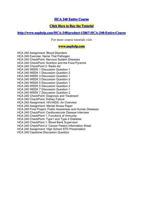 HCA 240 Entire Course