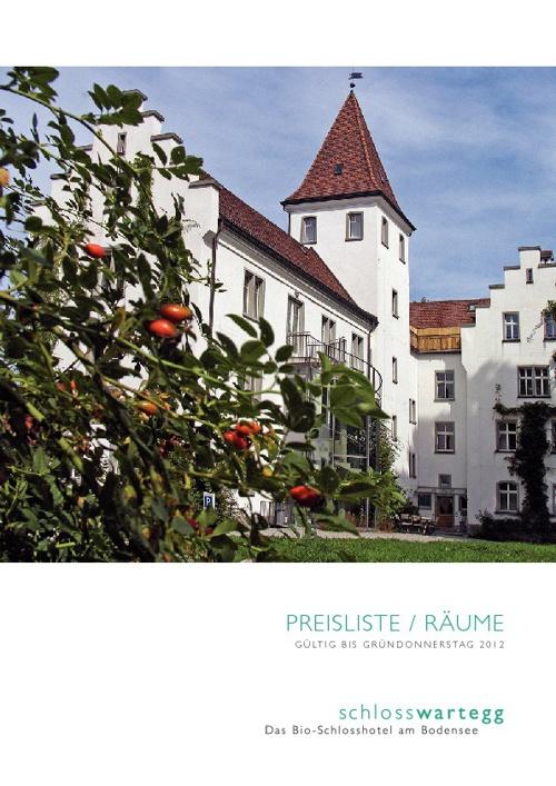 Preisliste und Räume Schloss Wartegg