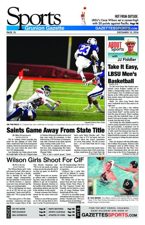 Gazette Sports  |  December 15, 2016