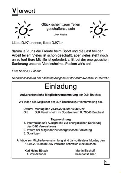 Vereinszeitschrift DJK Bruchsal 01/2016