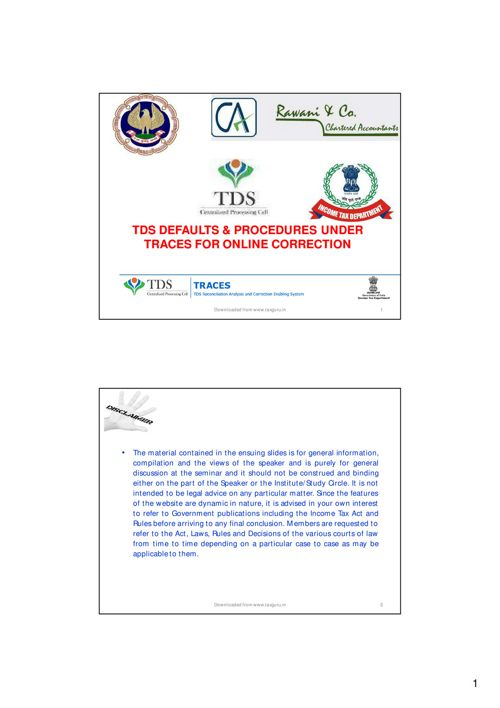 TDS Defaults & Procedures Under Traces For Online Correction