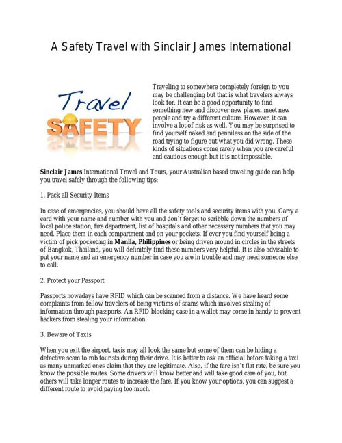A Safety Travel with Sinclair James International Inc.