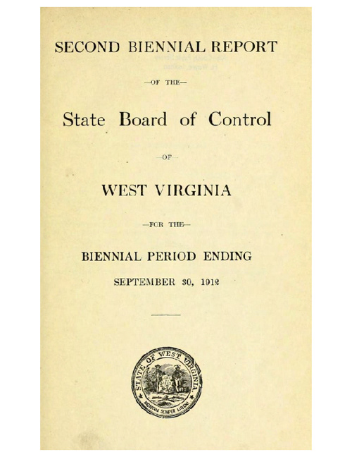 1912 WV Biennial State Board of Control Report - Eugenics