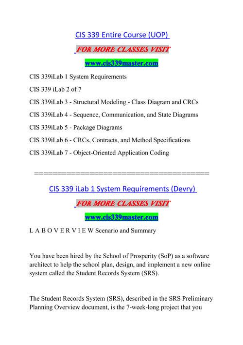 CIS 339 MASTER Experience Tradition/cis339master.com