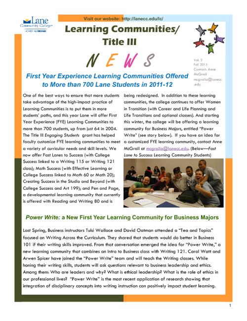 Fall 2012 Newsletter