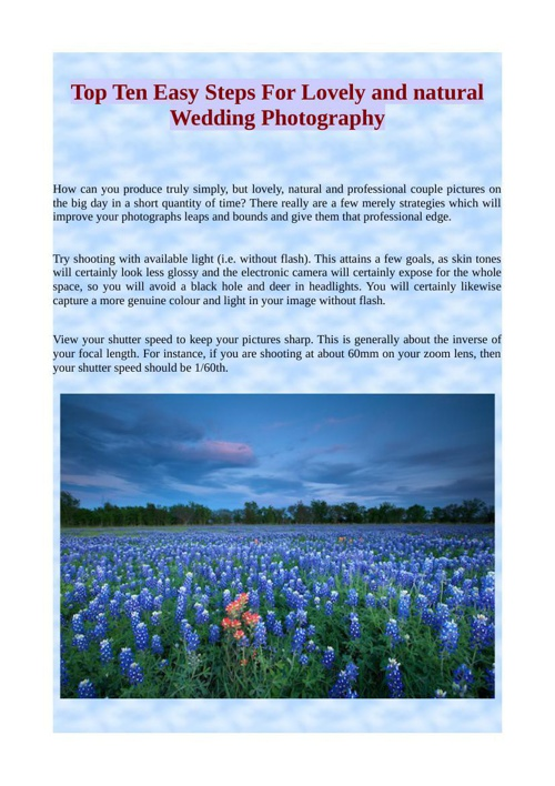 Top Ten Easy Steps For Lovely and natural Wedding Photography