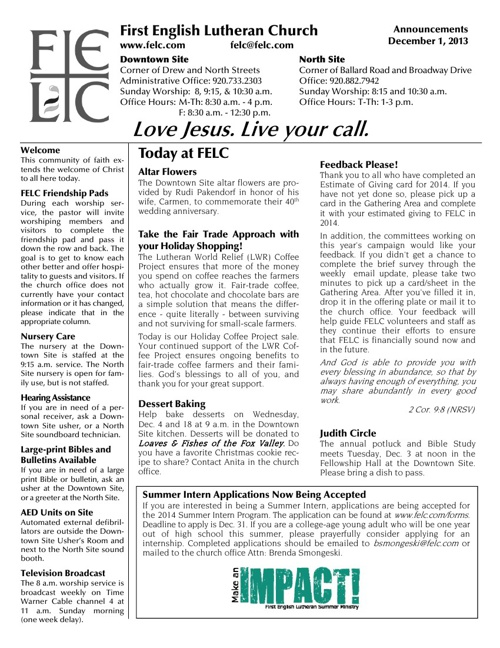FELC Weekly Announcements for Dec. 1, 2013