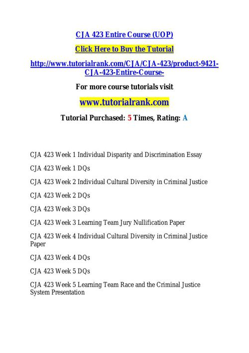 CJA 423 learning consultant / tutorialrank.com
